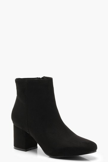 Womens Black Block Low Heel Ankle Shoe Boots