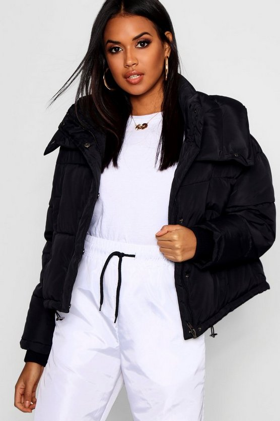 Womens Black Crop Funnel Neck Puffer
