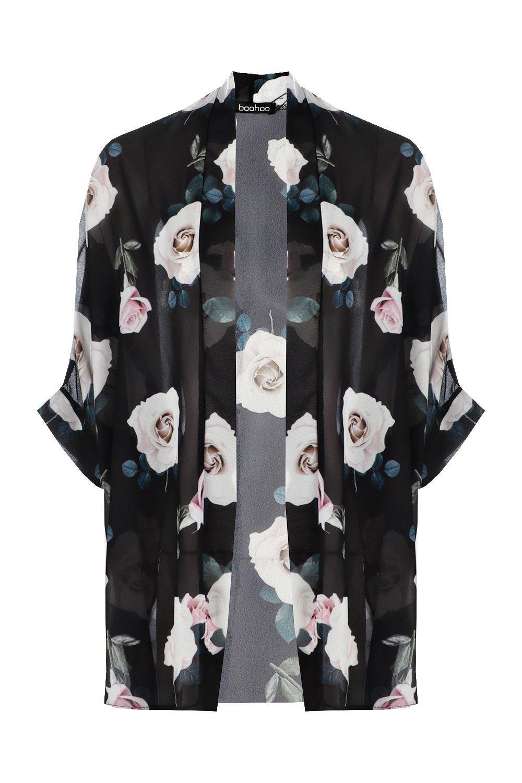 rosas con negro de estampado de Kimono chifón pwqaza