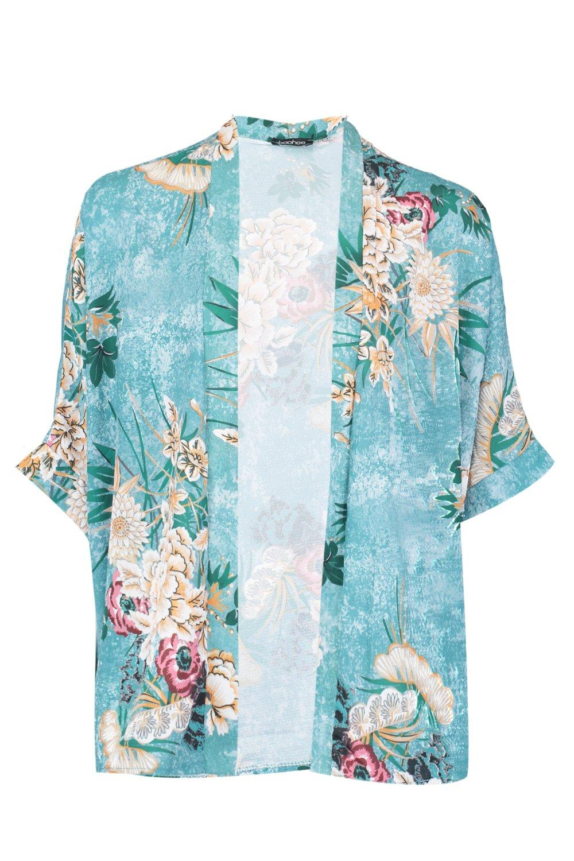 floral crepé Kimono oriental de estampado verde con qARa1wv