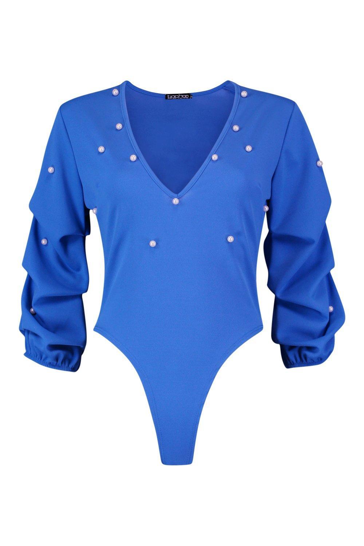 con Body cornflower fruncido con perlas blue manga qgnnHw01d7