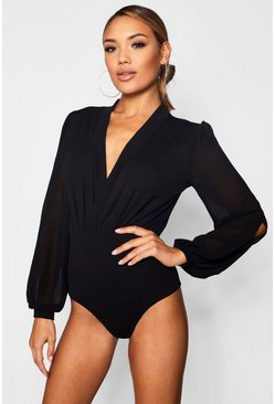 Womens Black Wrap Chiffon Sleeve Bodysuit