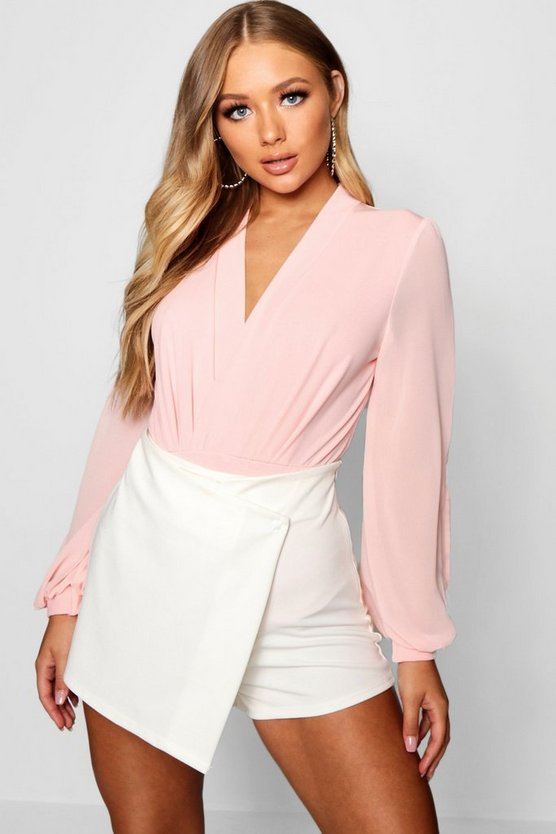 Soft pink Wrap Chiffon Sleeve Bodysuit