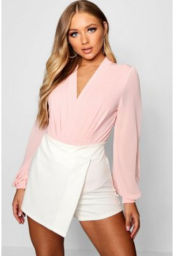 Womens Soft pink Wrap Chiffon Sleeve Bodysuit