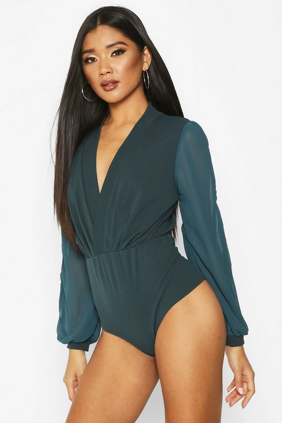Wrap Chiffon Sleeve Bodysuit