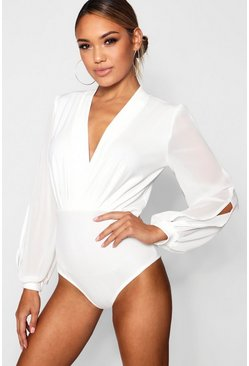 Womens White Wrap Chiffon Sleeve Bodysuit