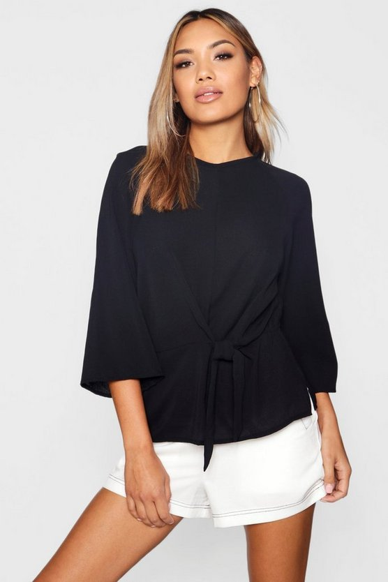 Womens Black Tie Front Flute Sleeve Blouse