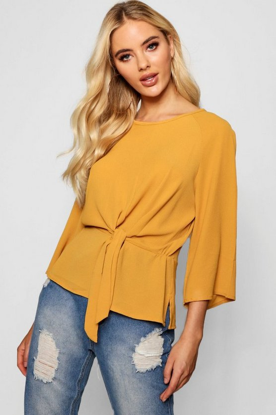 Tie Front Flute Sleeve Blouse