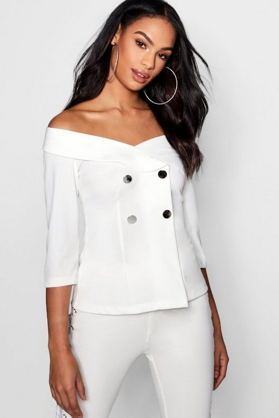 Cold Shoulder Button Detail Tux Blouse