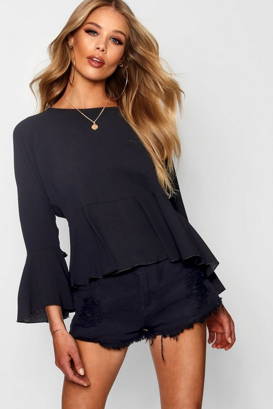 Womens Black Ruched Sleeve Tie Front Blouse