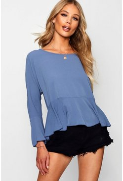 Womens Dusty blue Ruched Sleeve Tie Front Blouse