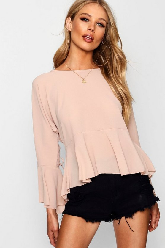 Ruched Sleeve Tie Front Blouse