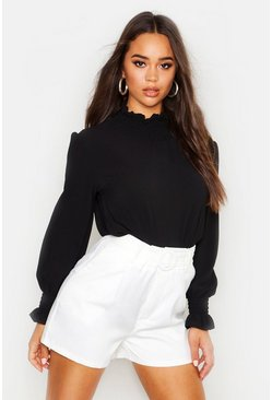 Black Shirred Collar Blouse