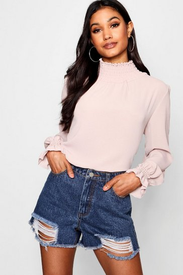 Blush Shirred Collar Blouse