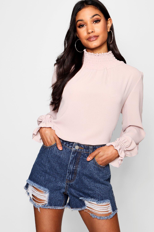 fruncido pálido rosa cuello Blusa con xTwq7EAn0f