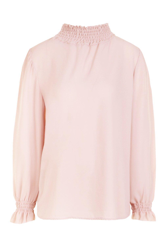 fruncido cuello pálido con rosa Blusa qOwzRSn