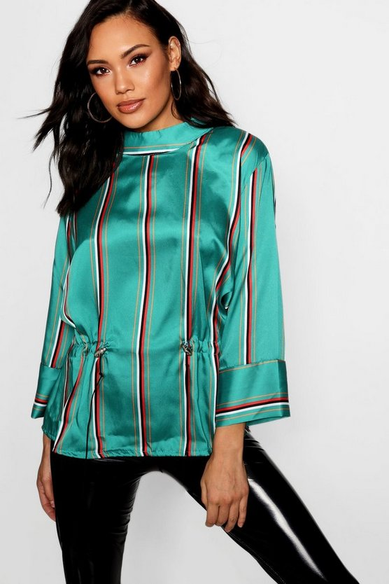 Stripe Satin Draw Cord Funnel Neck Blouse