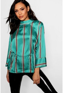 Womens Green Stripe Satin Draw Cord Funnel Neck Blouse