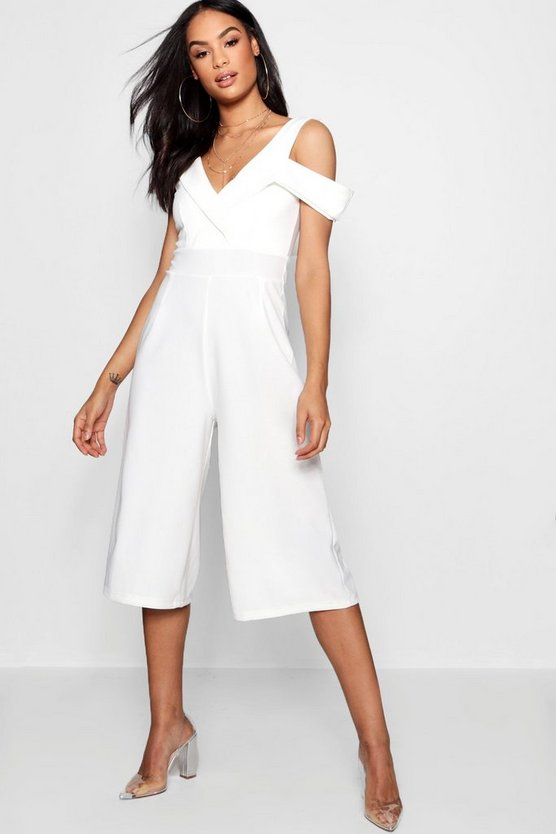 Womens White One Shoulder Tux Culotte Jumpsuit