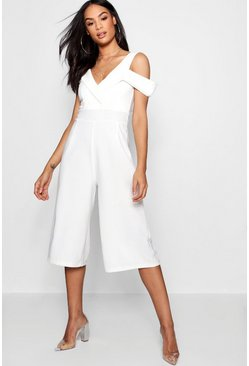 One Shoulder Tux Culotte Jumpsuit, White, DAMEN