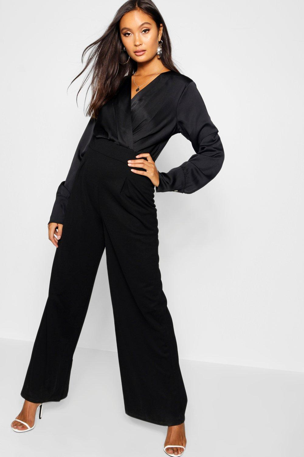 black Jumpsuit Contrast Wrap Top Satin Bq4nUWZw