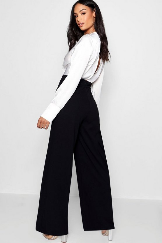Satin Wrap Contrast Top Jumpsuit