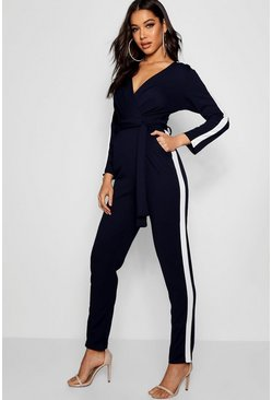 Womens Blue Contrast Sports Stripe Jumpsuit