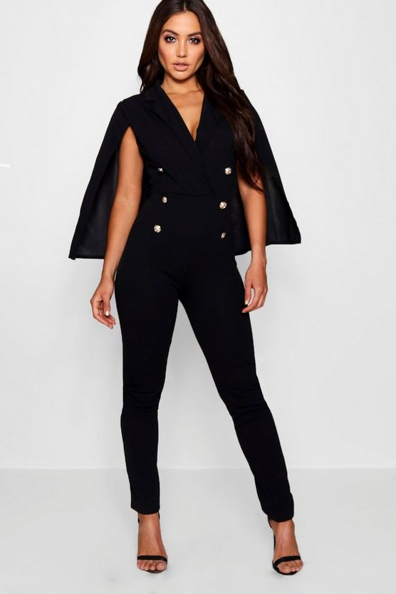 Womens Black Military Caped Jumpsuit