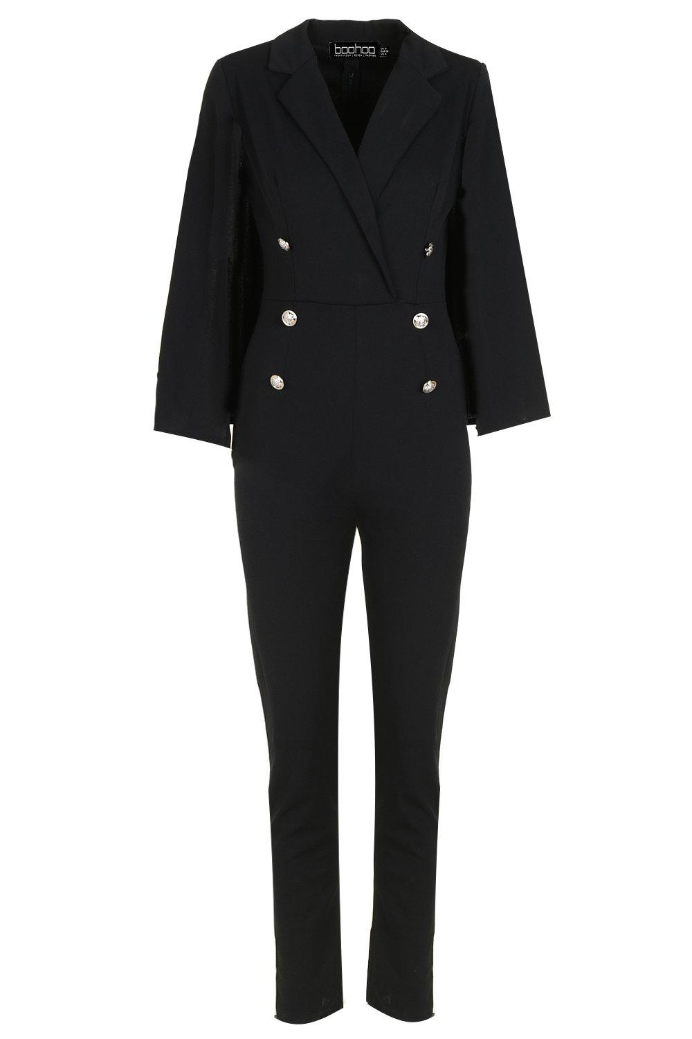 Military Caped Jumpsuit Caped Military Jumpsuit black 5gxFvwt