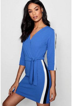 Womens Cobalt Contrast Stripe Belted Wrap Dress