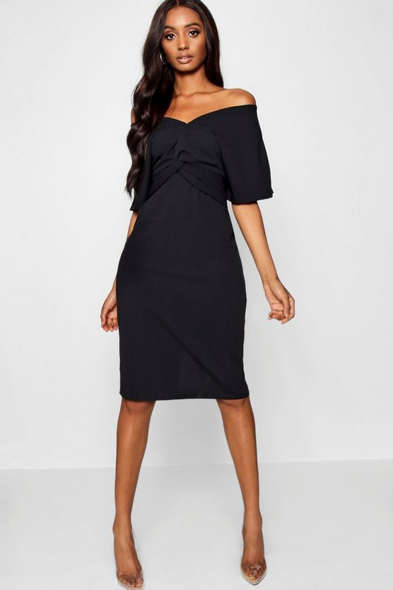 Womens Twist Detail Kimono Sleeve Midi Dress
