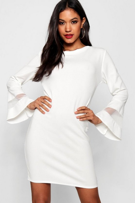Mesh Insert Flute Sleeve Shift Dress