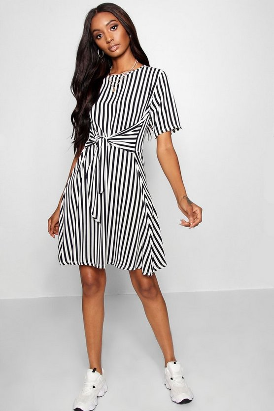 Tie Front Stripe Skater Dress, Black, Donna