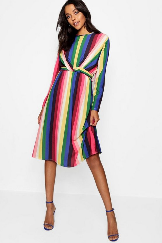 Womens Pink Rainbow Tie Front Midi Dress
