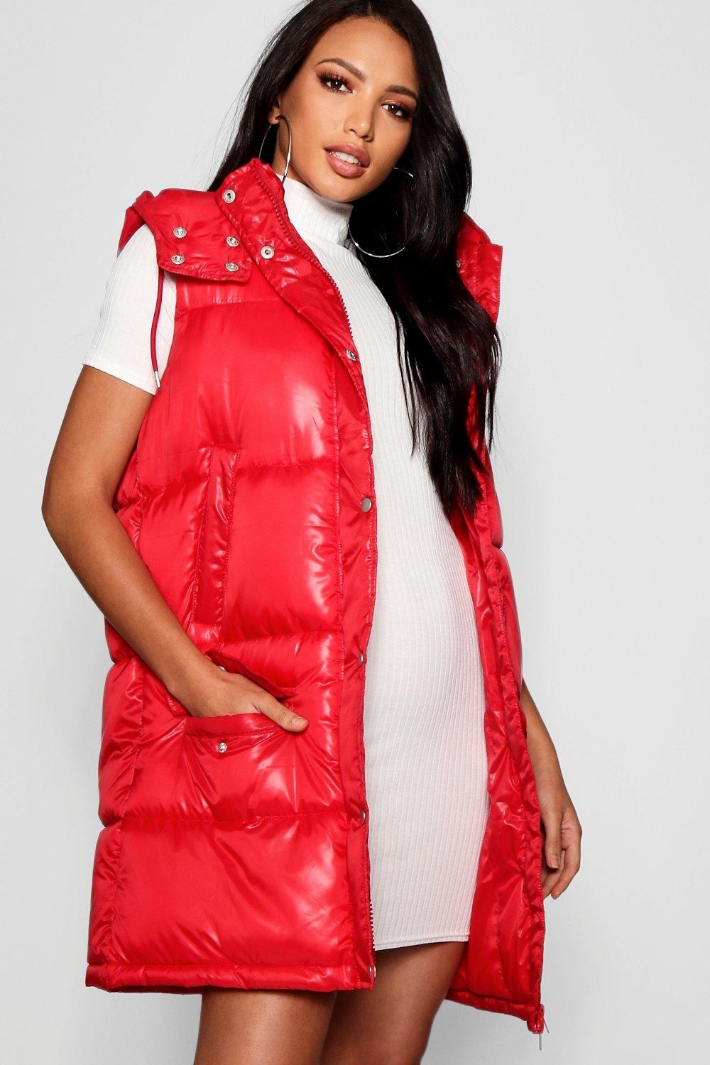 Padded Hooded red Gilet Longline Cire zExwUE