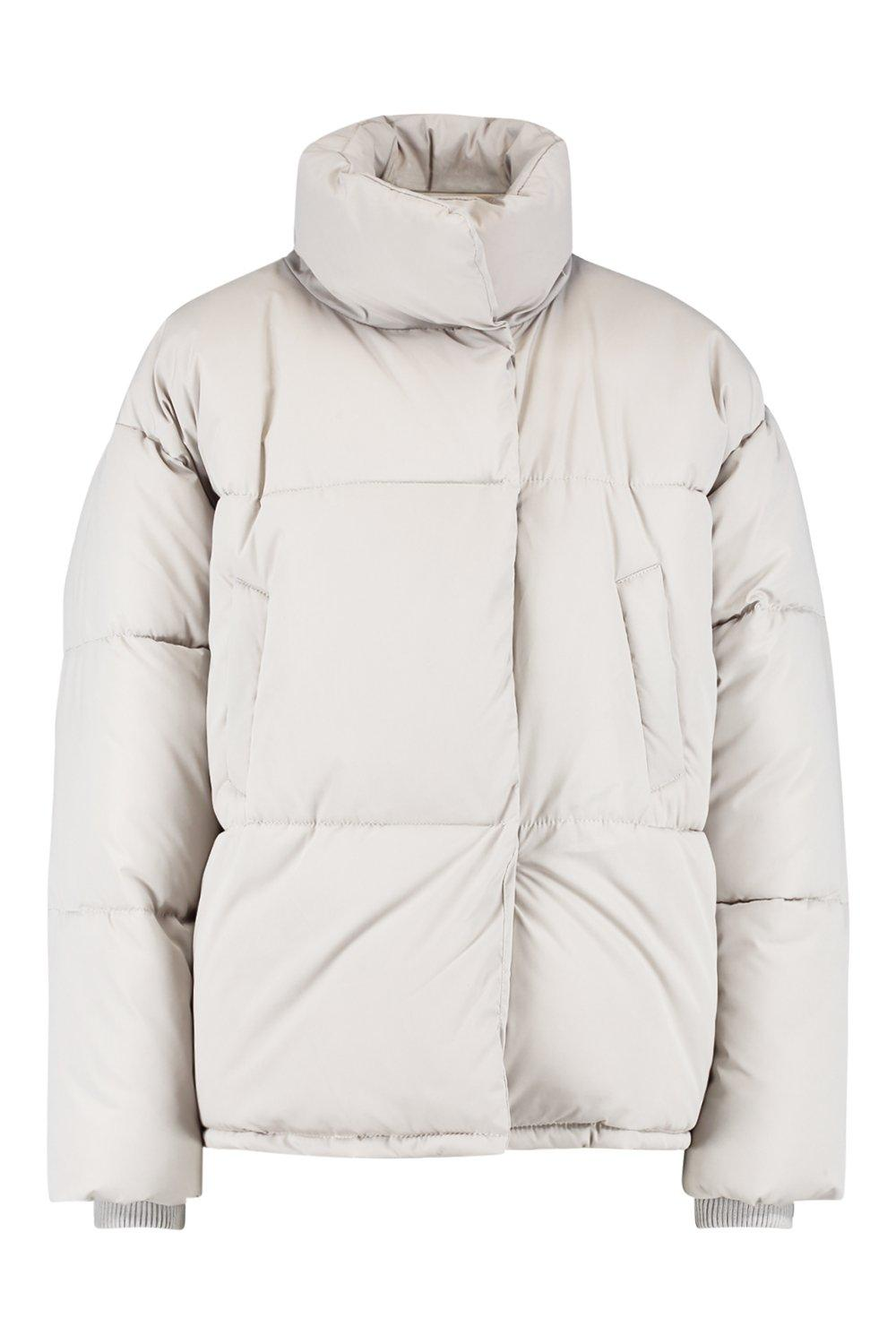 stone Funnel Puffer Jacket Wrap Neck wPISw