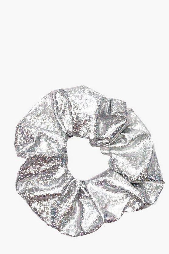 Womens Silver Holographic Metallic Scrunchie