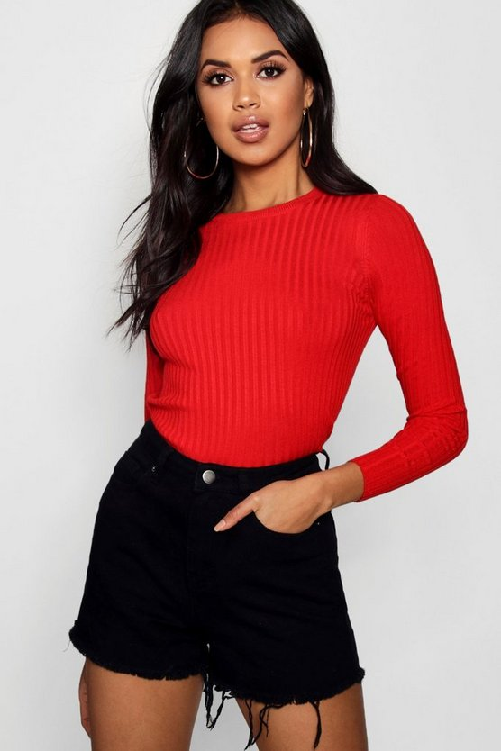 Ribbed Crew Neck Top With 3/4 Sleeves