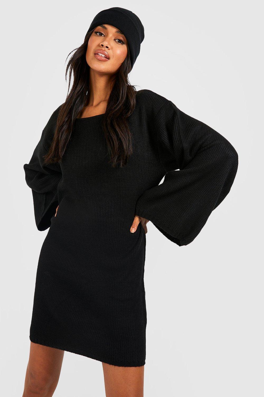 Купить со скидкой Объемное платье свитер с широкими рукавами