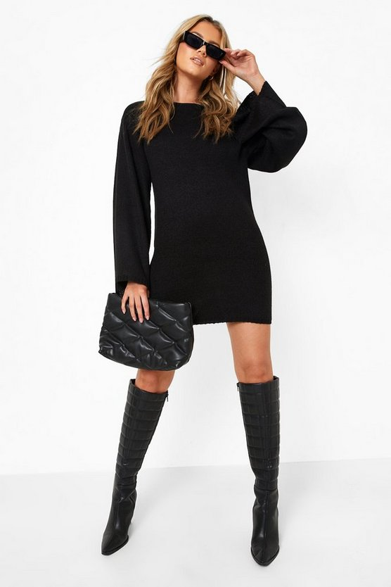 Womens Black Oversized Wide Sleeve Sweater Dress