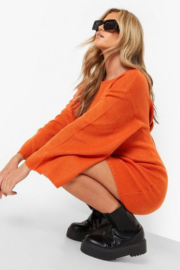 Womens Burnt orange Oversized Wide Sleeve Jumper Dress