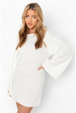 Womens Cream Oversized Wide Sleeve Jumper Dress