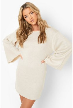 Womens Stone Oversized Wide Sleeve Jumper Dress