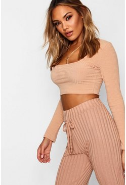 Womens Camel Square Neck Rib Knit Top