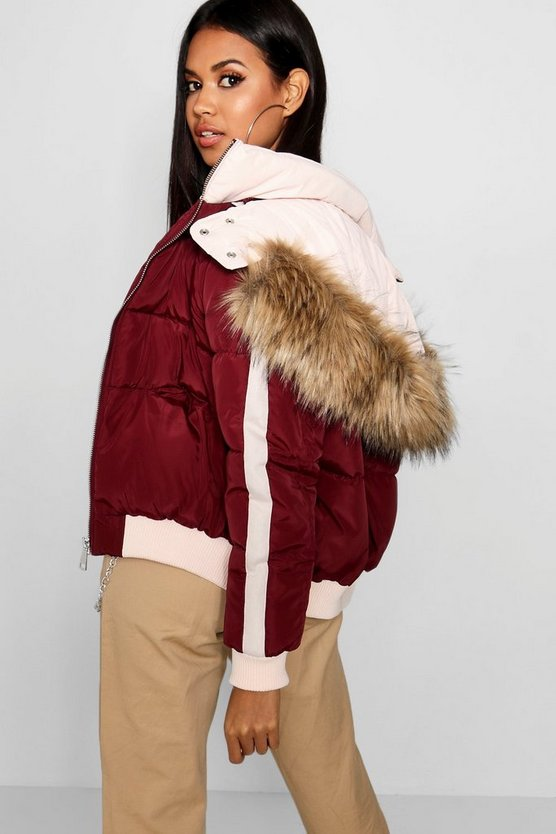 Womens Wine Contrast Hood Crop Puffer Jacket