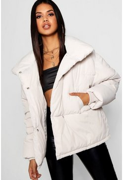 Dove Funnel Wrap Neck Puffer Jacket