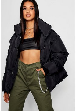 Black Funnel Wrap Neck Puffer Jacket