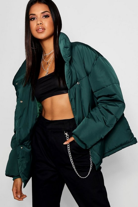 Midnight green Funnel Wrap Neck Puffer Jacket