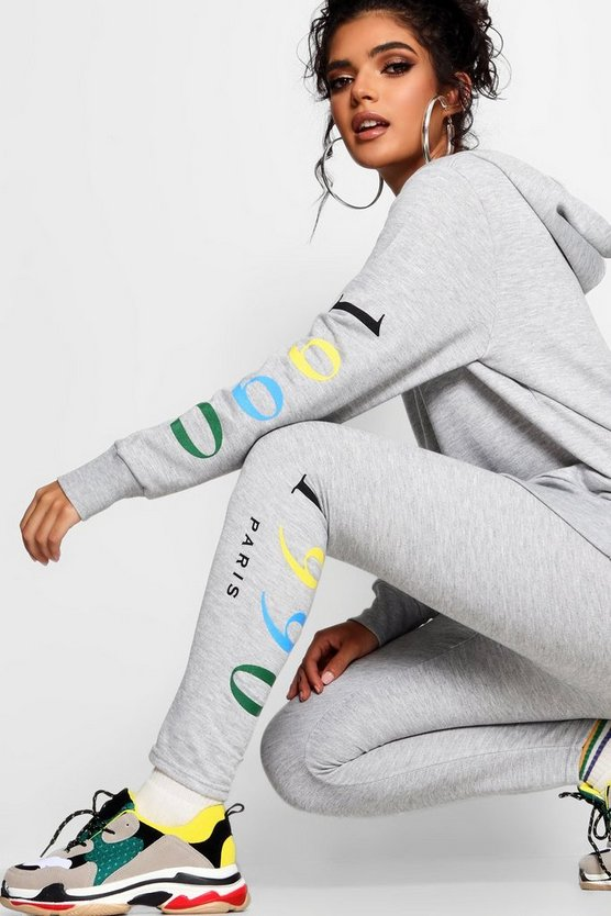 Grey 1990 Rainbow Print Slogan Legging