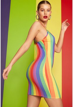 Womens Red Rainbow Stripe O-Ring Dress